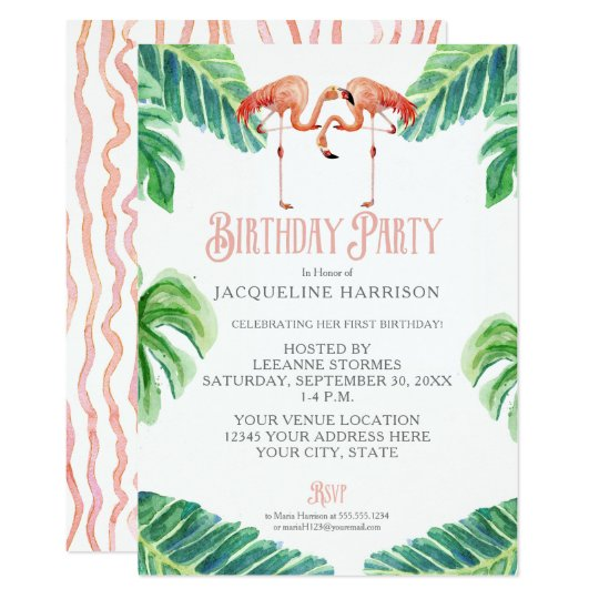 Birthday Party Watercolor Pink Flamingo Leaves Card