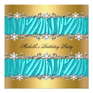 "Birthday Party Wild Teal Zebra Gold Diamond 5.25"" Square Invitation Card"