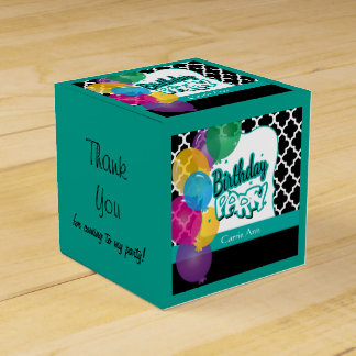Birthday Party with Balloons in Teal Favor Box