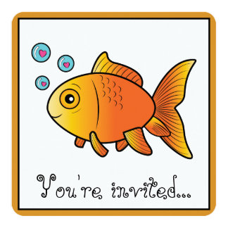 Birthday Party with Cartoon Goldfish Card