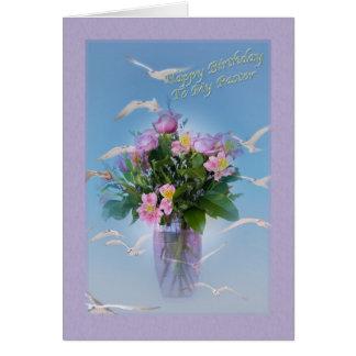 Birthday, Pastor, Flowers and Birds Card
