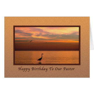 Birthday, Pastor, Ocean View at Sunset Card