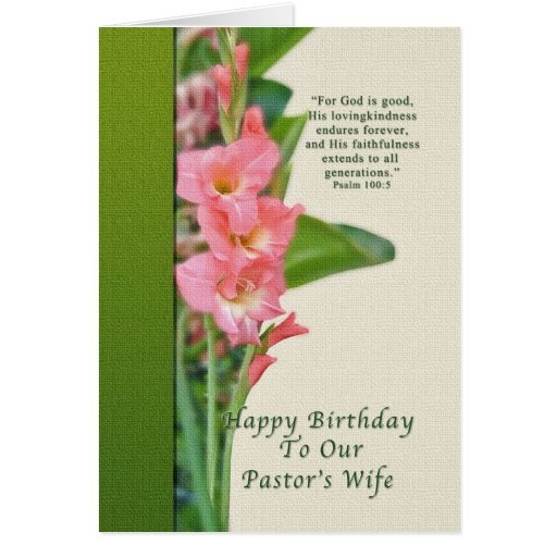 Birthday, Pastor's Wife, Pink Gladiolus Greeting Cards | Zazzle