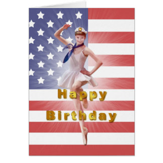 Birthday, Patriotic Ballerina and USA Flag Card