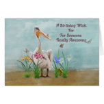 Birthday, Pelican, Flowers and Butterflies Greeting Card