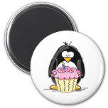 Birthday Penguin with Cupcake Refrigerator Magnet