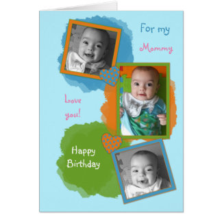 Birthday Photo Card for Mommy from little boy