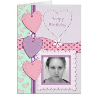 Birthday Photo Card pink & purple
