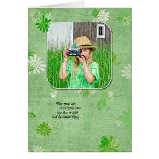 birthday photo with daisy background card