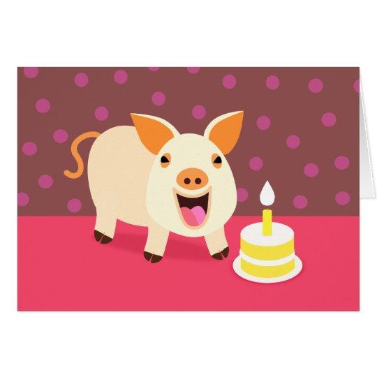 Birthday Pig & Cake Card