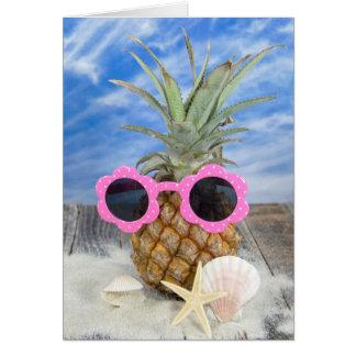 birthday pineapple with sunglasses card