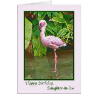 Birthday, Pink Flamingo,  Daughter-in-law Card