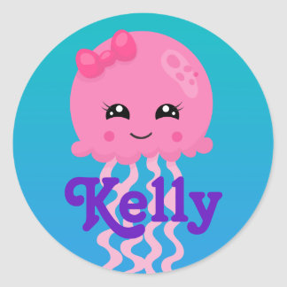 Birthday Pink Jellyfish Classic Round Sticker