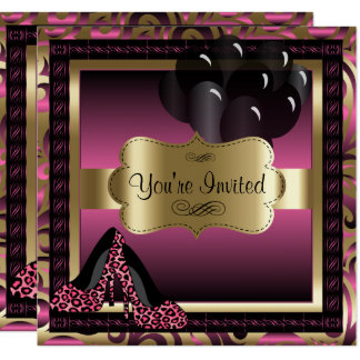 Birthday | Pink Leopard High Heels Invitation