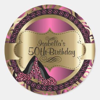 Birthday | Pink Leopard High Heels Round Sticker