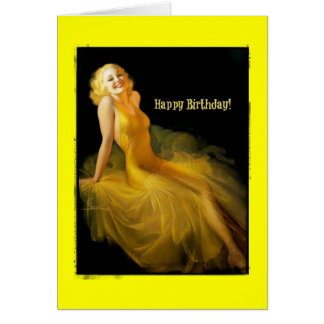 Birthday Pinup in Yellow Card