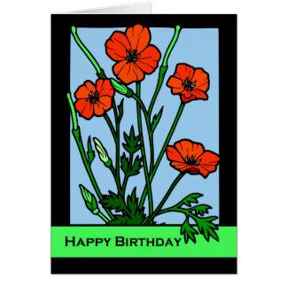Birthday Poppies, Red Poppy Floral Illustration Card
