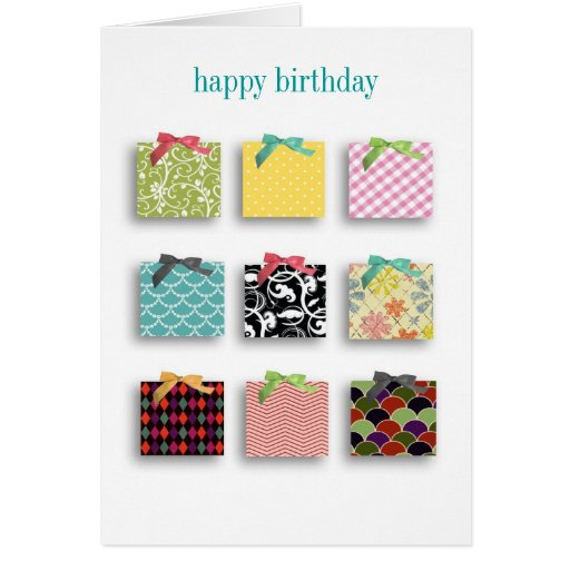Birthday presents with faux bows bday card