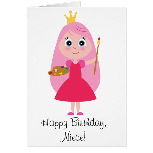 Birthday Princess Artist Niece Greeting Card