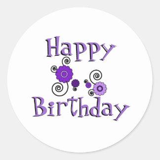 Birthday, purple & black flowers, white background round sticker