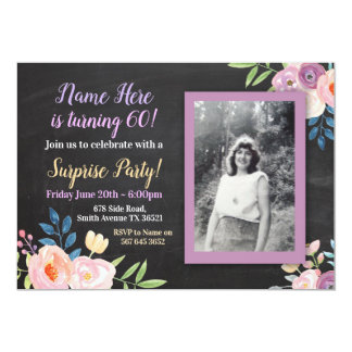Birthday Purple Flower Photo Chalk Invitation