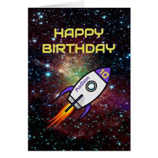 Birthday purple rocket custom name and age card