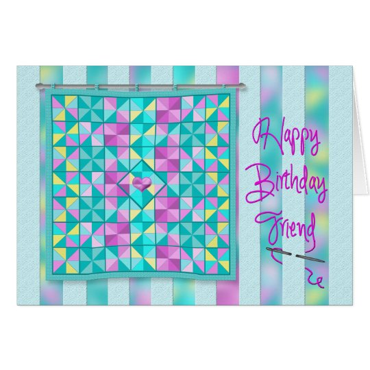 Birthday - Quilt - Friend - Soft Colours Card