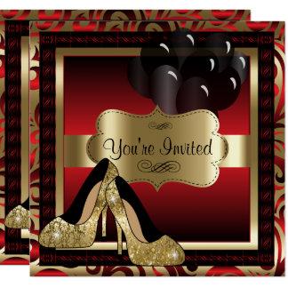 Birthday | Red & Gold High Heels Invitation