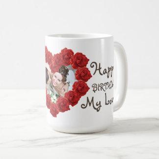 Birthday red heart photo roses mug