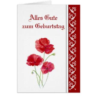 Birthday, Red Poppies, Garden Flowers German Card