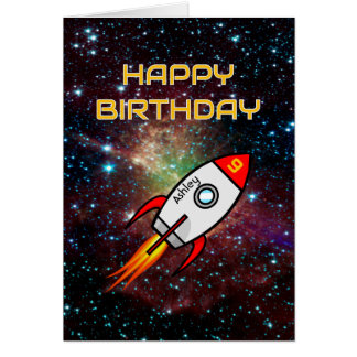 Birthday red rocket custom name and age card