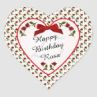 Birthday - Red Roses Floral Photography Heart Sticker