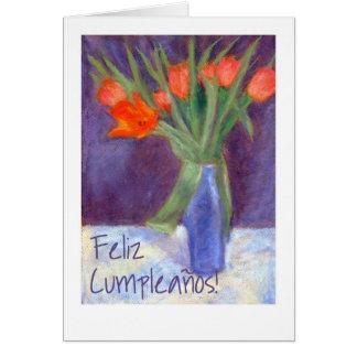 Birthday Red Tulips Card - Spanish Greeting