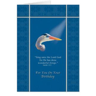 Birthday,  Religious, Great Blue Heron Bird Card