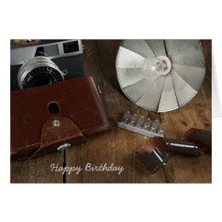 birthday-retro camera and flash bulbs card