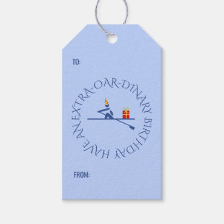 Birthday rower custom text blue gift tags