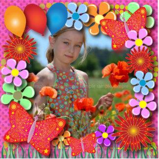 Birthday Sculptures: Butterflies and Flowers Standing Photo Sculpture