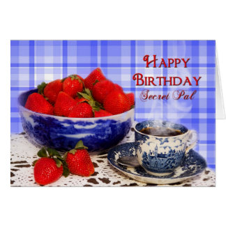 BIRTHDAY - SECRET PAL - ANTIQUE FLOW BLUE BOWL GREETING CARD
