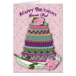 BIRTHDAY - SECRET PAL - MULTI TIER DECORATED CAKE GREETING CARD