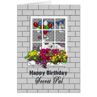 BIRTHDAY - SECRET PAL - OUTSIDE LOOKING IN AT PART GREETING CARD