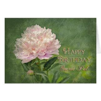 Birthday - SECRET PAL - Peony Elegance Greeting Card