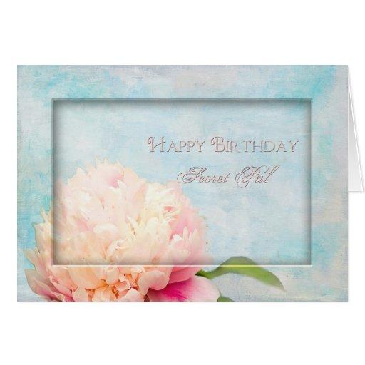 Birthday Secret Pal - Peony - floral Cards