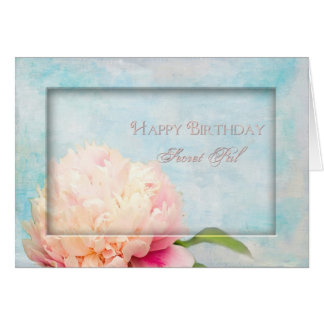 Birthday Secret Pal - Peony - floral Greeting Card