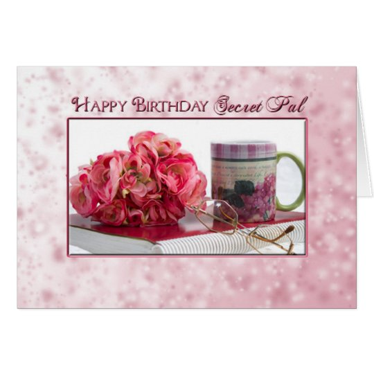 Birthday - Secret Pal - Pink Roses/Book Card