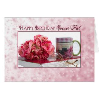 Birthday - Secret Pal - Pink Roses/Book Greeting Card
