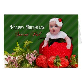 Birthday - Secret Pal - Strawberry Baby Greeting Card
