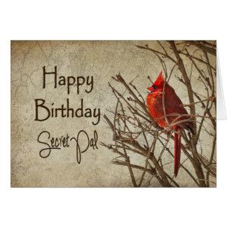 Birthday - Secret Pal - Textured - Red Cardinal Card