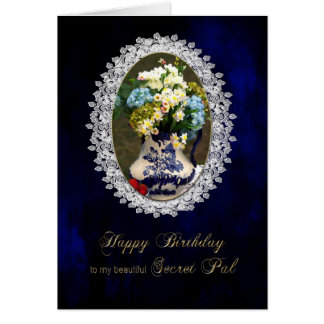 BIRTHDAY - SECRET PAL - VINTAGE LACE CARD