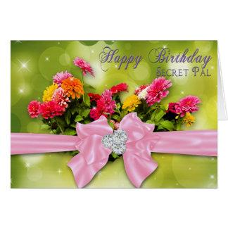Birthday - Secret Pal -Zinnias Greeting Card