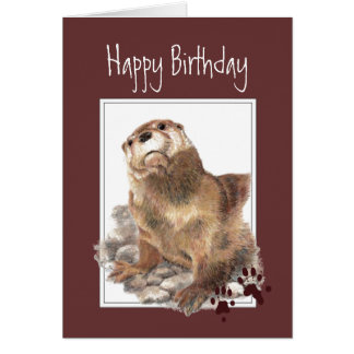 Birthday, Significant Otter Spouse Fun Animal Card